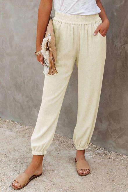 Khaki Linen Pocketed Elastic Waistband Joggers
