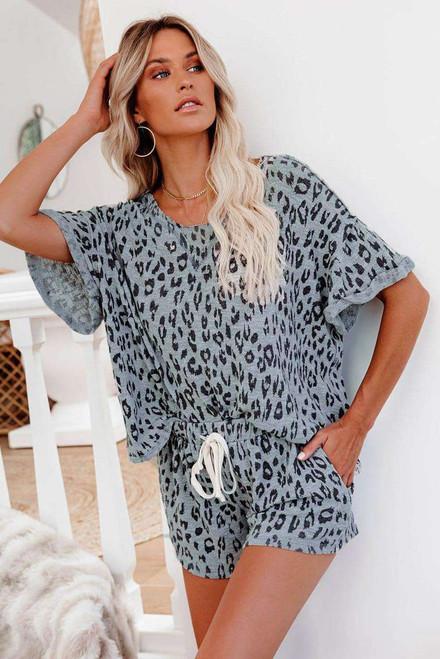 Gray Leopard Print Rolled Sleeve Short Lounge Set