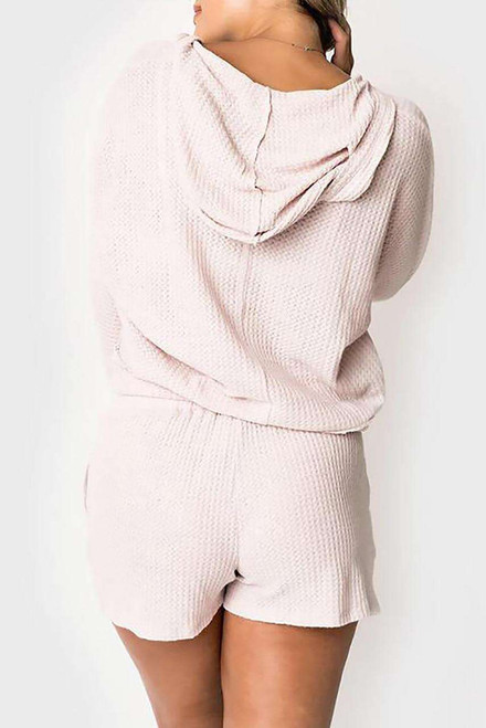 Pink Waffle Texture V Neck Long Sleeve Hoodie and Shorts Two-Piece Loungewear