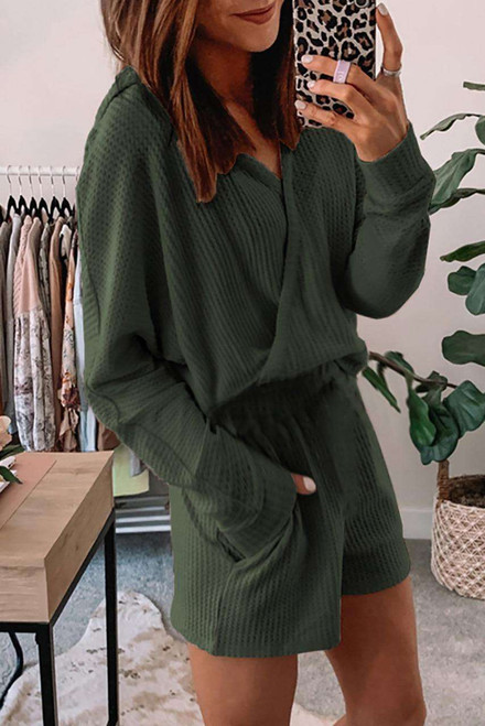 Green Waffle Texture V Neck Long Sleeve Hoodie and Shorts Two-Piece Loungewear