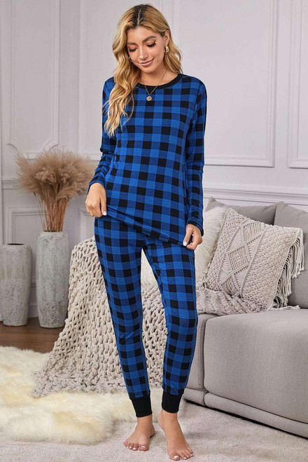 Blue Plaid Two Pieces Loungewear