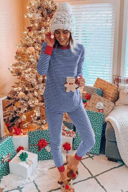 Crew Neck Striped Lounge Set with Contrast Trim