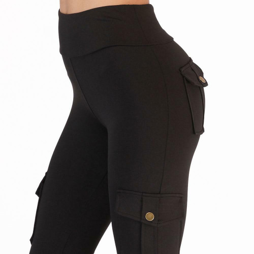 Fitness Pants For Women High Waist Pocket Patchwork Leggings Solid Push Up Pants