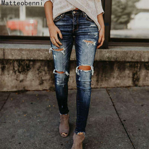 Ripped Jeans For Women Pants Cool Denim Vintage skinny push up jeans High Waist