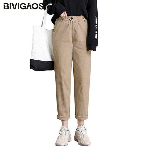 Women Loose Casual Pants Leisure Harem Pants High Waist Button Straight Overalls Trousers For Women Cargo Pants