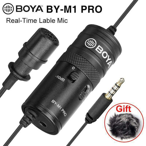 BOYA BY-M1 Pro Upgraded Lavalier Lable Record Microphone Smartphone SLR DSL Real-Time Monitor Recording Mic for iPhone Andriod
