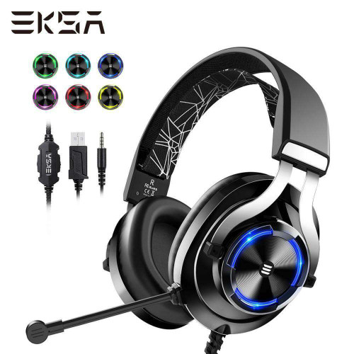 EKSA Wired Gaming Headset Gamer E3000 Deep Bass Stereo Wired Headphones for Smartphone PC PS4 Xbox With Microphone RGB LED Light