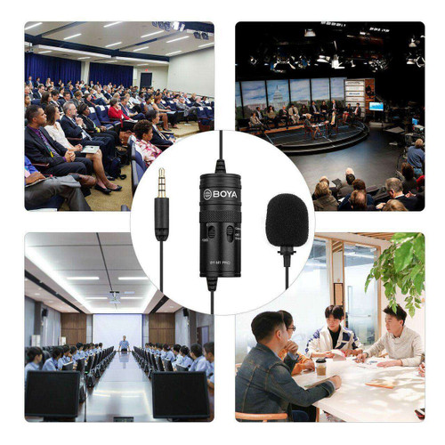 BOYA BY-M1 Pro Omni-Directional Lavalier Microphone Mic Single Head Clip-on Condenser Mic for Smartphone DSLR Camcorder Audio