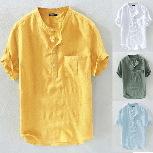 Summer Casual Men Shirts Stand Collar Solid Cotton Blouse Short Sleeve