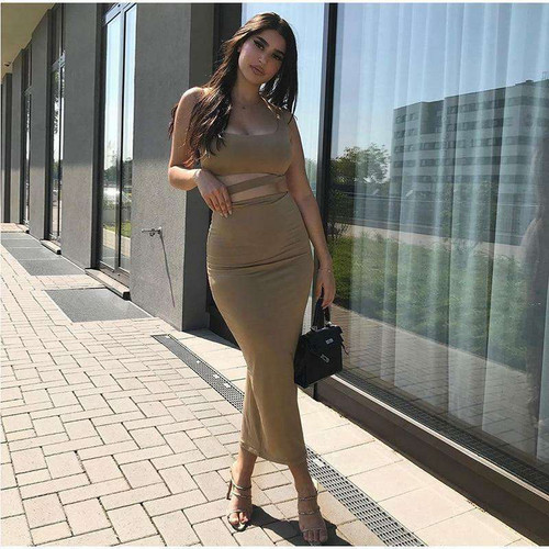 2 Layers Long Skirts Two Piece Set Summer Party Wear Women Two Piece Outfits Sexy Sleeveless Plus Size 2 Piece Skirt Set