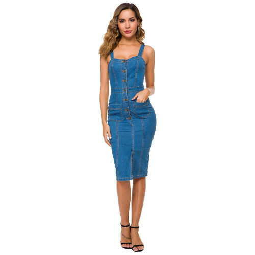 Sexy Casual Denim Dress Midi Summer Outfits for Women Sundress Sleeveless Strap Button Pocket Jeans Dress Bodycon Ladies Dresses