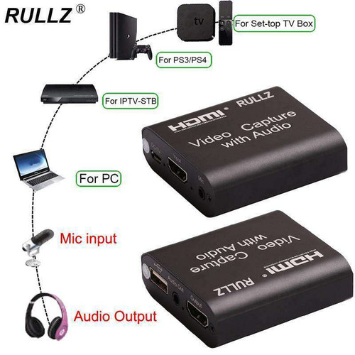 USB 2.0 3.0 4K Loop Out Audio Video Capture Card HDMI Recording Box