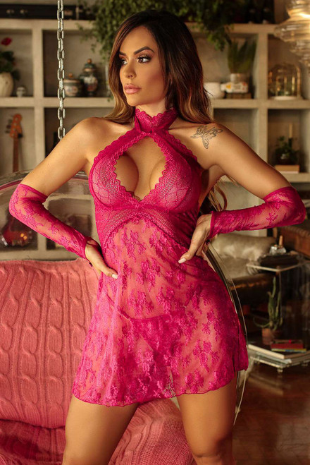 Halter Neck Backless Lace Babydoll with Thong and Gloves