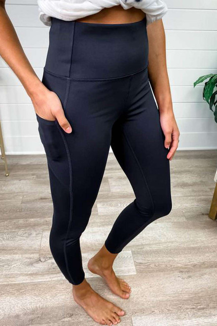 Black Tummy Control Sports Leggings with Cellphone Pocket