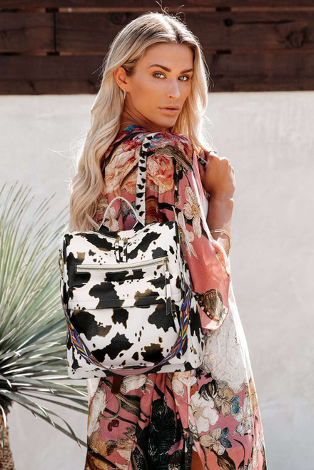 Cow Print Color Strap Casual Backpack