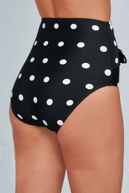 Black Polka Dot Print Front Tie High Waist Bikini Bottoms