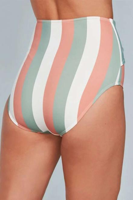Multicolor Stripes Print Front Tie High Waist Bikini Bottoms