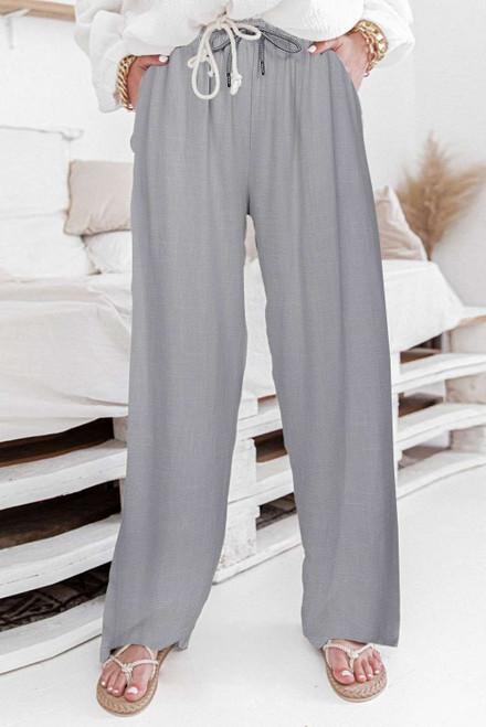 Gray High Waist Drawstring Wide Legs Casual Pants