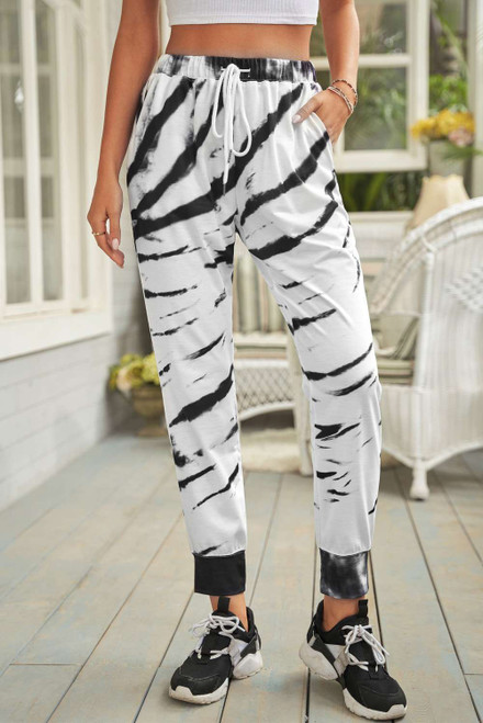 White Pocketed Tie-dye Print Joggers