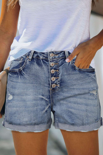 High Rise Button Fly Distressed Denim Shorts