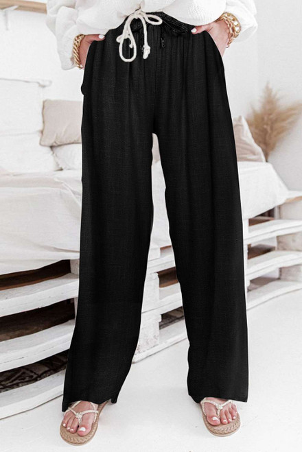 Black High Waist Drawstring Wide Legs Casual Pants