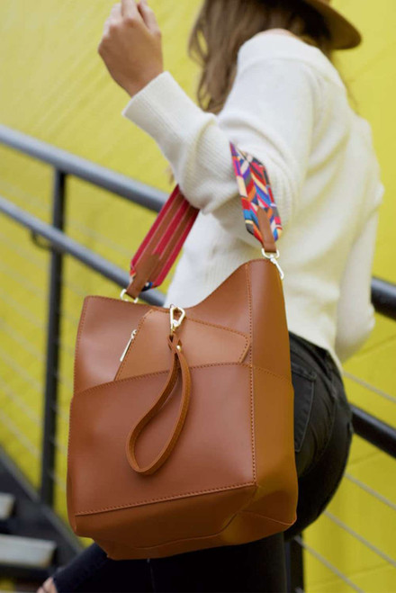 Brown Faux Leather Tote Bag with Matching Purse