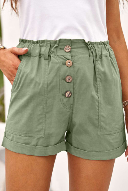 Army Green Cuffed High Waist Shorts