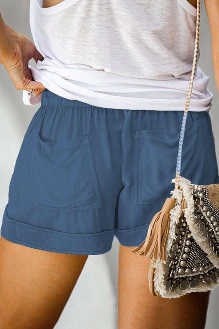 Blue Elastic Waist Drawstring Pocket Shorts