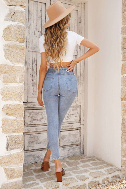 Light Blue Washed High Waist Buttons Skinny Jeans