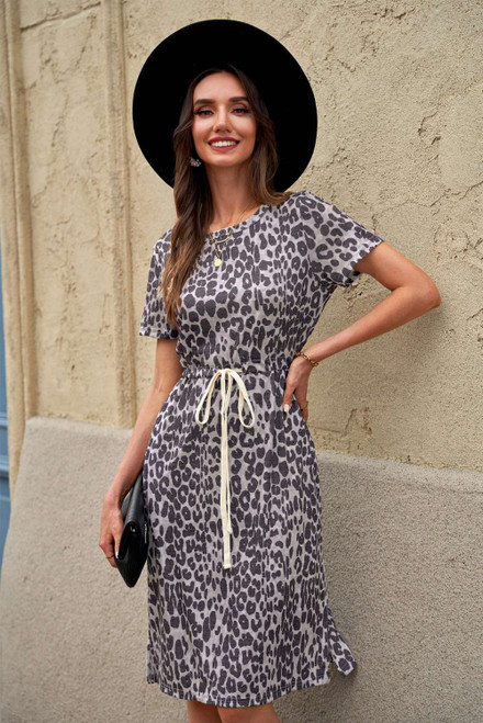 Leopard Short Sleeve Pocketed Drawstring Casual Dress