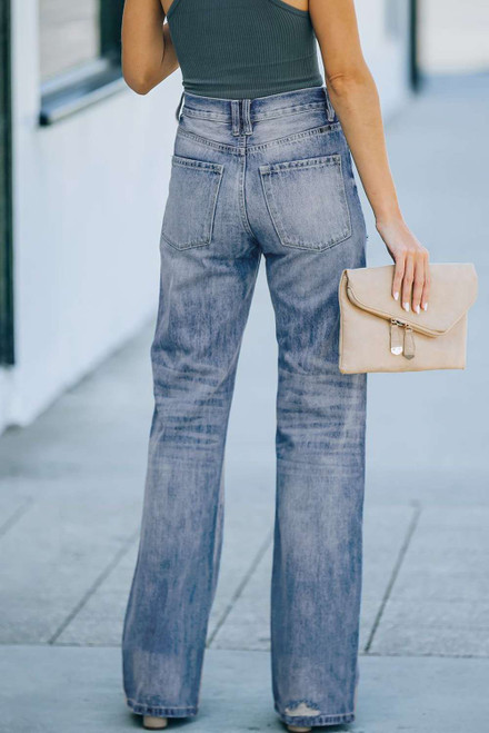 Blue High Rise Washed Distressed Flare Jeans