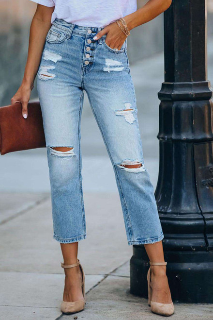 High Rise Button Front Distressed Denim Pants