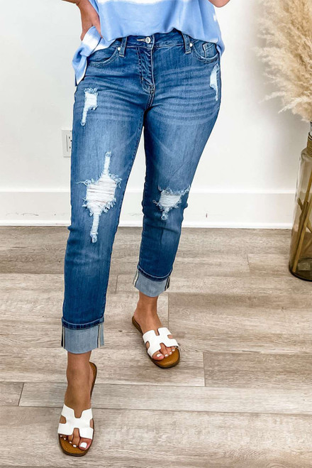 Mid Rise Distressed Girlfriend Jeans