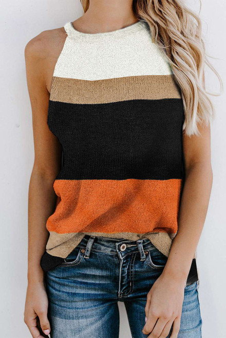 Orange Color Block Knitted Tank Top