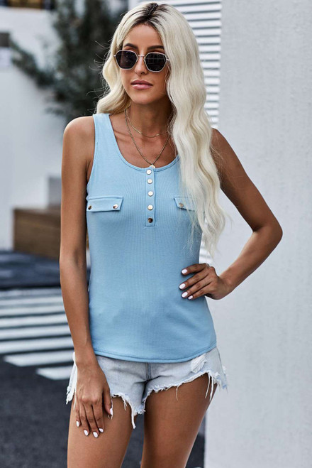 Sky Blue Buttoned Design Ribbed Knit Tank
