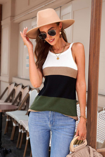 Green Color Block Knitted Tank Top