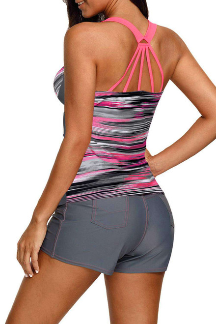 Pink Pattern Print Racerback Top and Boy Shorts Tankini