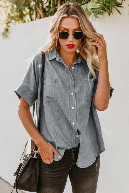 Turn-down Collar Short Sleeve Denim Shirt