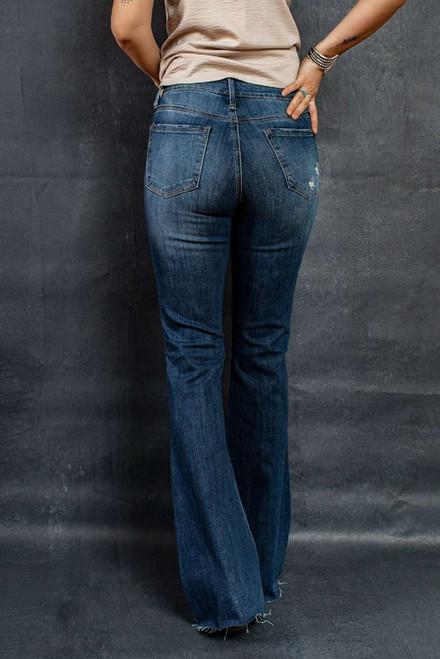 Dark Wash Mid Rise Flare Jeans