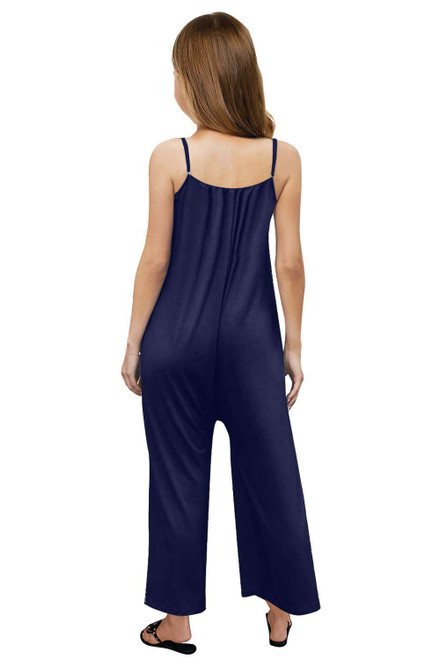 Blue Spaghetti Strap Wide Leg Girl's Jumpsuit with Pocket