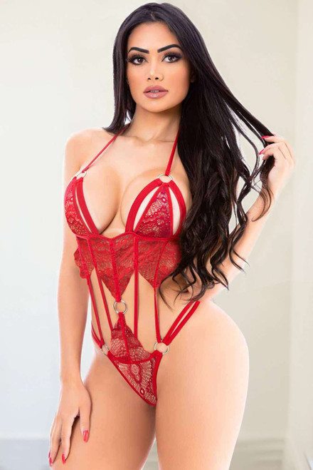 Red Halter Neck Backless Lace-Up Circle Rings Lace Teddy