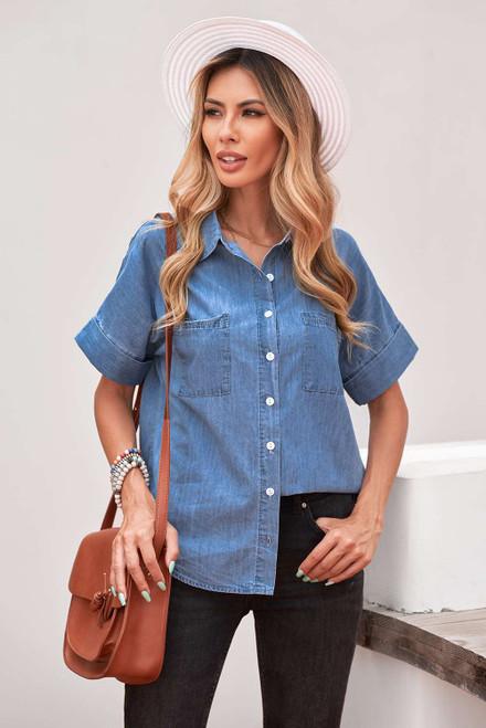 Blue Turn-down Collar Short Sleeve Denim Shirt