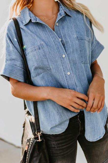 Light Blue Turn-down Collar Short Sleeve Denim Shirt