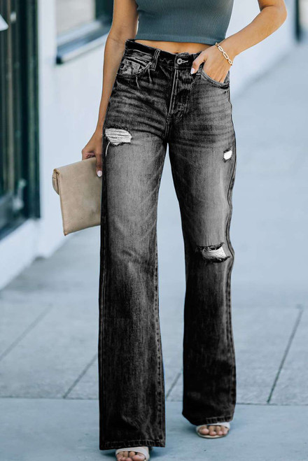 Black High Rise Washed Distressed Flare Jeans
