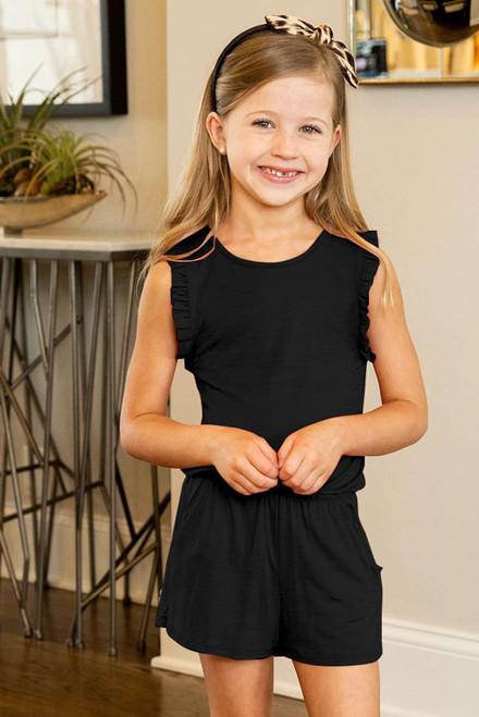 Black Ruffled Sleeveless Little Girl Romper