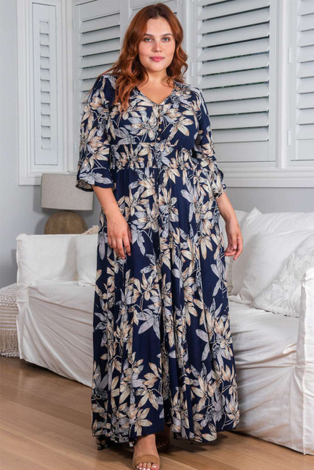 Navy Floral Print Plus Size Maxi Dress