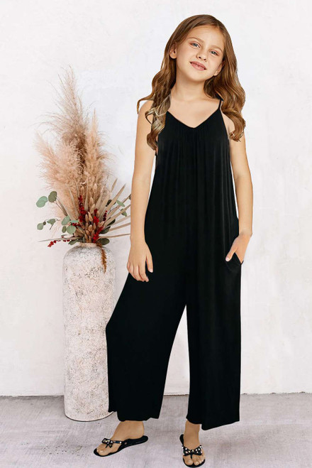 Black Spaghetti Strap Wide Leg Girl's Jumpsuit with Pocket