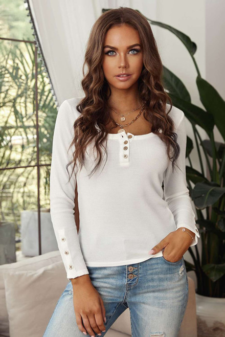 White Scoop Neck Button Closure Ribbed Long Sleeve Top