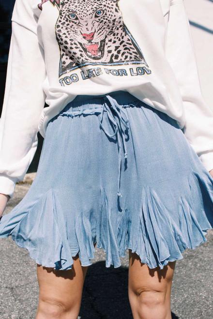 Blue Korean High Waist Tutu Pleated Mini Skirt
