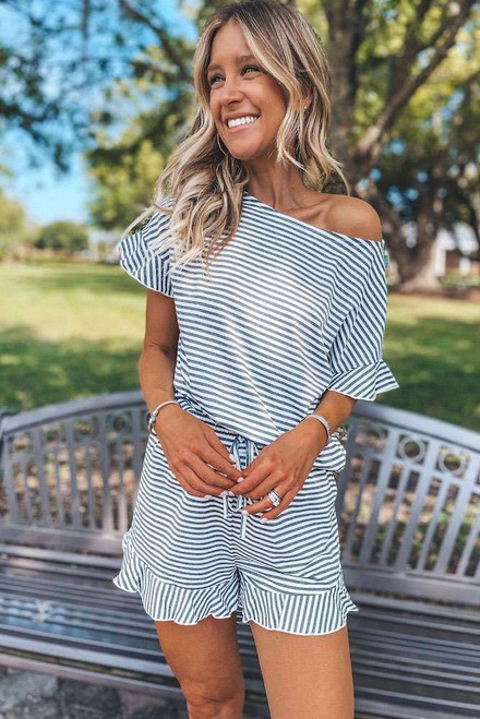 Striped Ruffle Top and Shorts Lounge Set